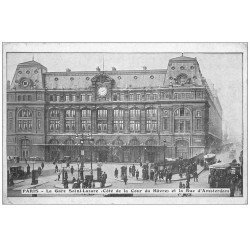 carte postale ancienne PARIS 09. Gare Saint-Lazare Rue Amsterdam
