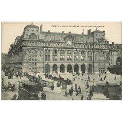 carte postale ancienne PARIS 09. Gare Saint-Lazare Rue de Rome