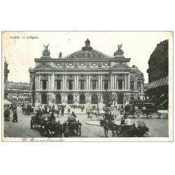 carte postale ancienne PARIS 09. L'Opéra et Fiacres
