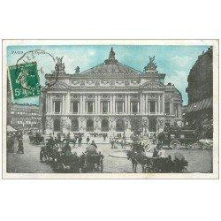 carte postale ancienne PARIS 09. L'Opéra et Fiacres 1911