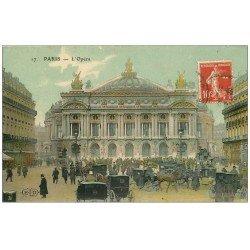 carte postale ancienne PARIS 09. L'Opéra et Fiacres. Carte émaillographie vers 1909