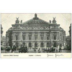 carte postale ancienne PARIS 09. L'Opéra et Hippomobiles. Petit Journal