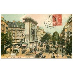 carte postale ancienne PARIS 10. Boulevard Porte Saint-Denis 1908