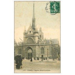 carte postale ancienne PARIS 10. Eglise Saint-Laurent 1910
