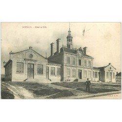carte postale ancienne 10 BOUILLY. Hôtel de Ville 1904 timbres Taxes