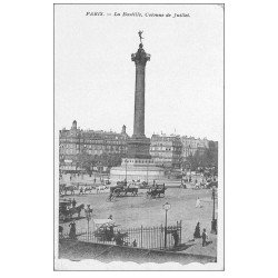carte postale ancienne PARIS 11. Place de la Bastille