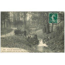 carte postale ancienne PARIS 12. Bois Vincennes. Cascade Lac des Minimes 1910