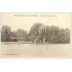 carte postale ancienne PARIS 12. Bois Vincennes. Lac Square et Jardins 1907