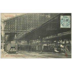 carte postale ancienne PARIS 12. Gare de Lyon Locomotives côté départ 1906. Collection Tout Paris