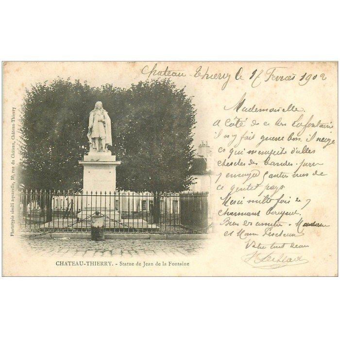 02 chateau thierry 1902 statue de jean de la fontaine. Black Bedroom Furniture Sets. Home Design Ideas