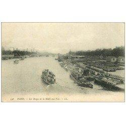 carte postale ancienne PARIS 12. Les Berges de la Halle aux Vins. Péniches et Bateau Mouche