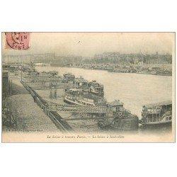 carte postale ancienne PARIS 13. Bateau-Moche à Austerlitz 1905. Maggi et Nestlé