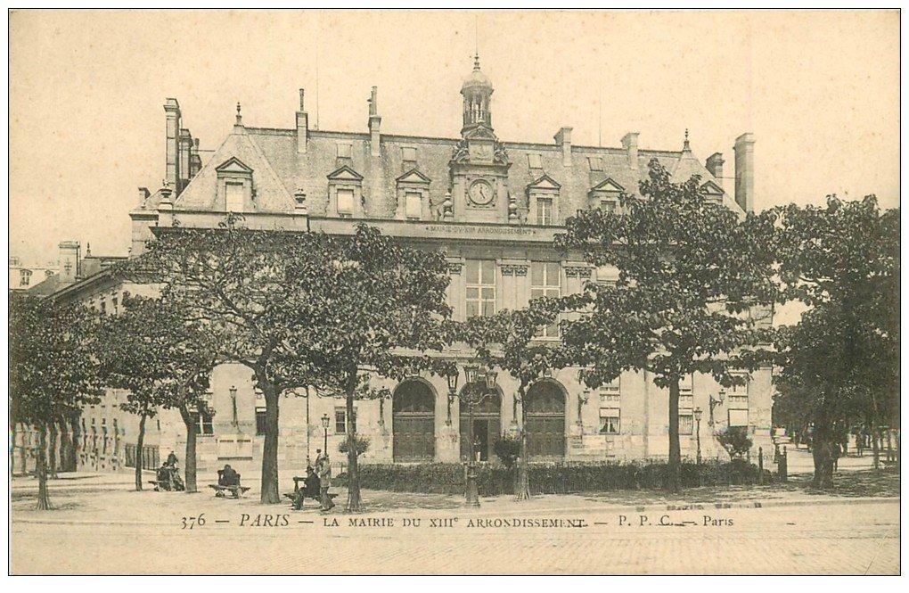 paris 13 la mairie du xiii arrondissement vers 1900. Black Bedroom Furniture Sets. Home Design Ideas