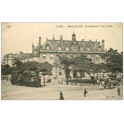 carte postale ancienne PARIS 13. La Mairie Place d'Italie
