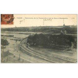 carte postale ancienne PARIS 13. Passerelle et Gare Austerlitz 1907