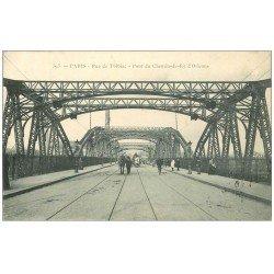 carte postale ancienne PARIS 13. Pont Chemin de Fer Orléans rue de Tolbiac 1905