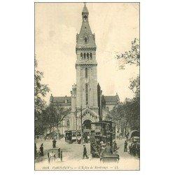 carte postale ancienne PARIS 14. Eglise de Montrouge Tramway à étage Impériale