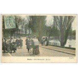 carte postale ancienne PARIS 14. Poussettes au Parc Montsouris. Le Lac 1906