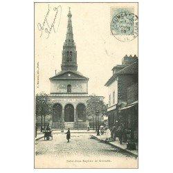 carte postale ancienne PARIS 15. Eglise Saint-Jean-Baptiste de Grenelle Place Pernet 1905 et Triperie