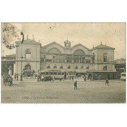 carte postale ancienne PARIS 15. Gare Montparnasse 1904. Calèches Bus et Tramways