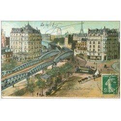 carte postale ancienne PARIS 15. Pont Métropolitain rue Lecourbe 1913