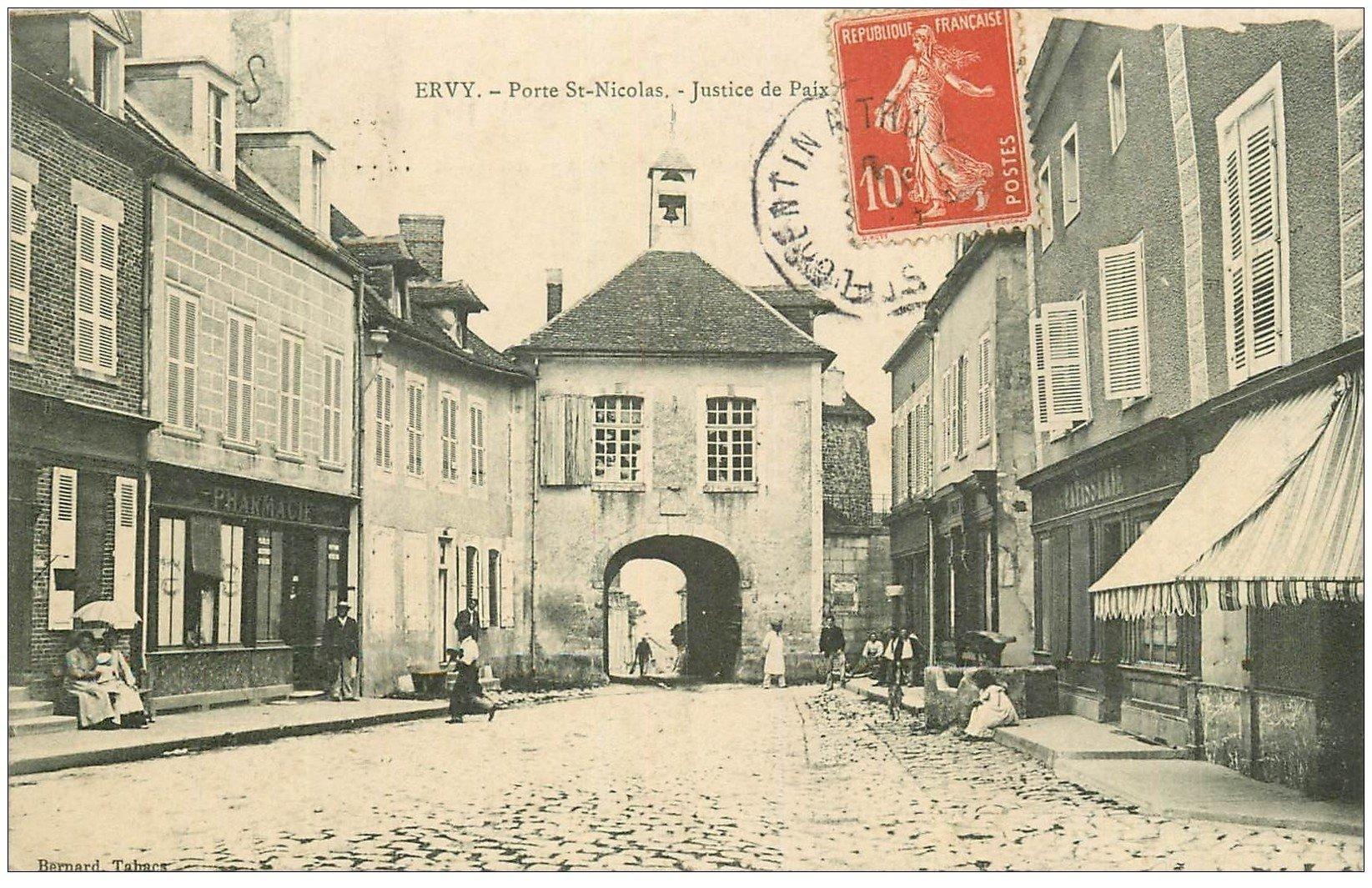 10 ervy justice de paix porte nicolas 1908 pharmacie et patisserie