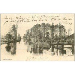 carte postale ancienne 10 FOUCHY. La Seine et l'Ecluse 1905. Timbre Taxe