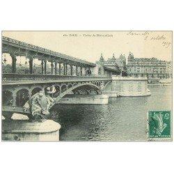 carte postale ancienne PARIS 15. Viaduc du Métropolitain 1909