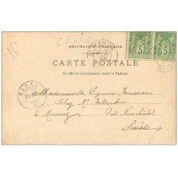 carte postale ancienne PARIS 16. 1899 Pont Alexandre 2 Timbres 5 centimes 1899