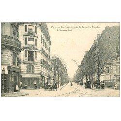 carte postale ancienne PARIS 16. Au Carrefour Lafontaine Rue Mozat 1904