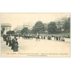 carte postale ancienne PARIS 16. Avenue du Bois de Boulogne départ Président de la République Attelage Daumont