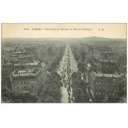 carte postale ancienne PARIS 16. Avenue du Bois de Boulogne Panorama 1921