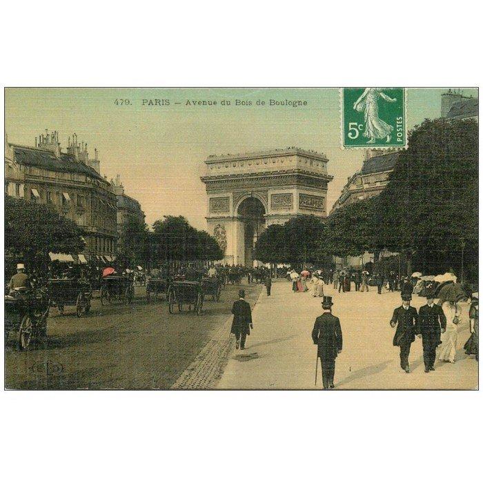 PARIS 16 Avenue du Bois de Boulogne Carte Toilée  ~ Manoir Bois De Boulogne