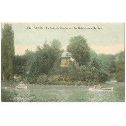 carte postale ancienne PARIS 16. Bois de Boulogne. Belvédére et Lac 1904