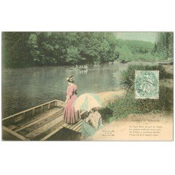 carte postale ancienne PARIS 16. Bois de Boulogne. Femme à la Pêche. Plaisirs du Dimanche 1906