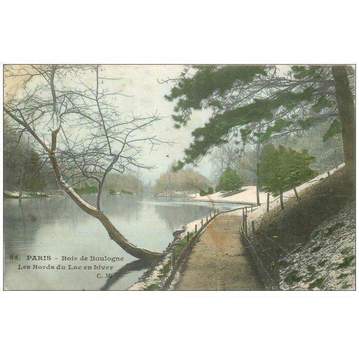 PARIS 16 Bois de Boulogne Lac en Hiver 1906 ~ Manoir Bois De Boulogne
