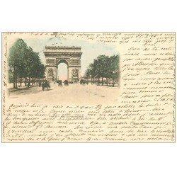carte postale ancienne PARIS 17. 1899 Arc de Triomphe. Timbre 10 centimes 1899