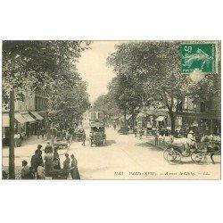 carte postale ancienne PARIS 17. Autobus Ford à étage Avenue de Clichy 1911