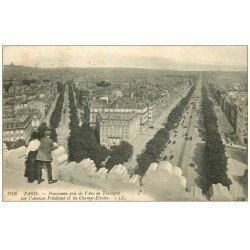 carte postale ancienne PARIS 17. Avenue Friedland et Champs-Elysées 1908