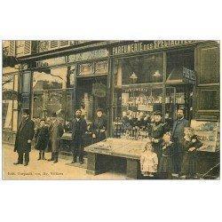 carte postale ancienne PARIS 17. Coiffeur Turpault 110 Avenue Villiers et Poste auxilliaire. Carte toilée
