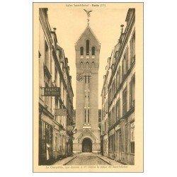carte postale ancienne PARIS 17. Eglise Saint-Michel et Auto-Ecole