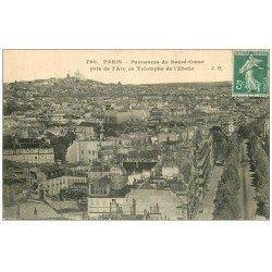 carte postale ancienne PARIS 17. Le Sacré-Coeur vu de l'Arc de Triomphe 1909