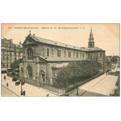 carte postale ancienne PARIS 18. Eglise Notre-Dame-de-Clignancourt 1919