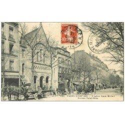 carte postale ancienne PARIS 18. Eglise Saint-Michel Avenue de Saint-Ouen 1913