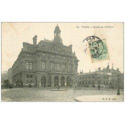 carte postale ancienne PARIS 18. La Mairie rue Ordener 1905 Hippomobiles à Impériale