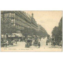 carte postale ancienne PARIS 18. Le Boulevard Barbès Taxi et Tramway à Impériale