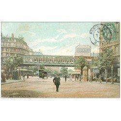 carte postale ancienne PARIS 18. Le Métropolitain Boulevard Barbès 1907