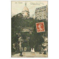 carte postale ancienne PARIS 18. Le Sacré-Coeur de Montmartre Square Saint-Pierre 1911