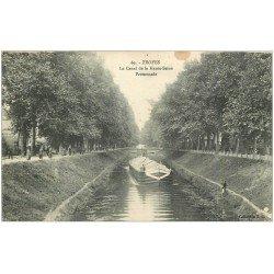 carte postale ancienne 10 TROYES. Canal de Haute-Seine 1915. Péniche