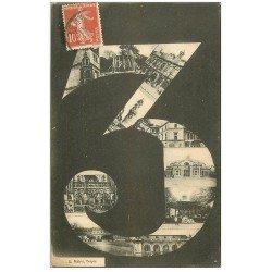 carte postale ancienne 10 TROYES. Fantaisie avec le chiffre 3 en 1917